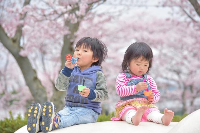 桜が咲く中、シャボン玉で遊ぶ兄弟